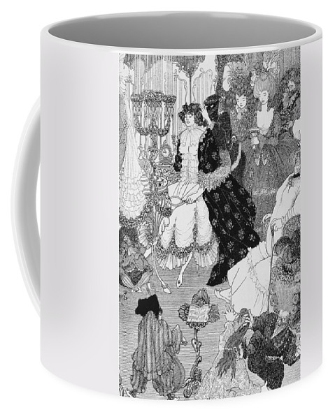 Aubrey Coffee Mug featuring the drawing The Battle Of The Beaux And The Belles by Aubrey Beardsley