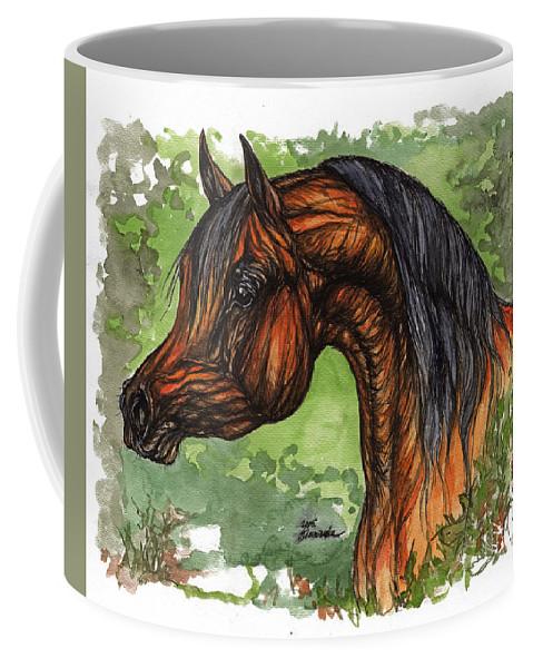 Psychodelic Coffee Mug featuring the painting The Bay Arabian Horse 1 by Angel Ciesniarska