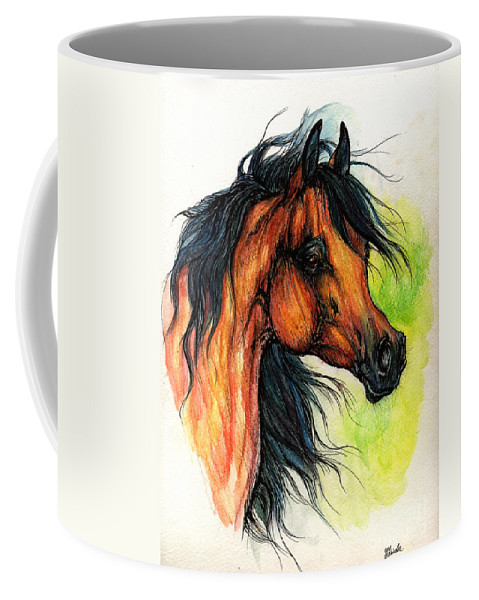 Horse Coffee Mug featuring the painting The Bay Arabian Horse 11 by Angel Ciesniarska