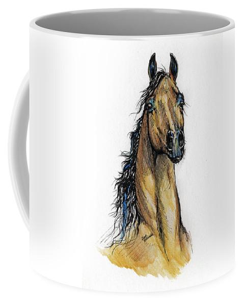Arab Coffee Mug featuring the painting The Bay Arabian Horse 13 by Angel Ciesniarska