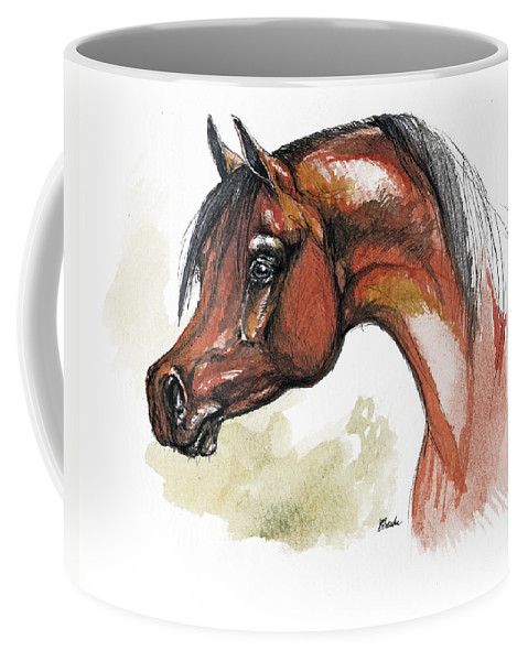 Arab Coffee Mug featuring the painting The Bay Arabian Horse 15 by Angel Tarantella