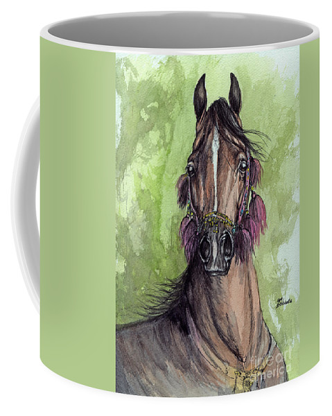 Horse Coffee Mug featuring the painting The Bay Arabian Horse 16 by Angel Tarantella