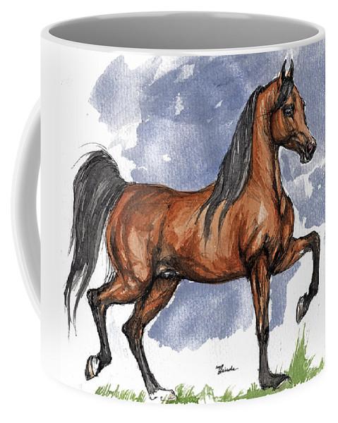 Bay Coffee Mug featuring the painting The Bay Arabian Horse 17 by Angel Tarantella