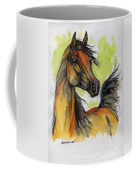 Horse Coffee Mug featuring the painting The Bay Arabian Horse 5 by Angel Ciesniarska
