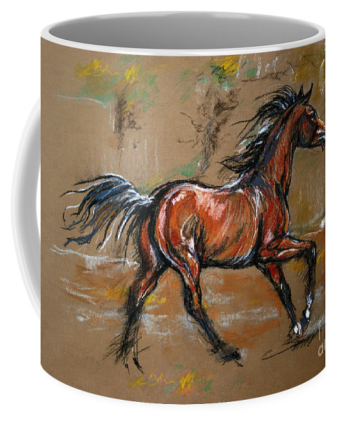 Horse Coffee Mug featuring the drawing The Bay Horse by Angel Ciesniarska
