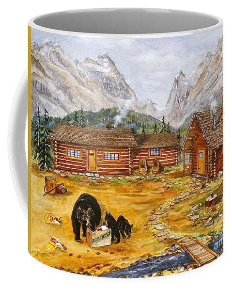 Bear Paintings Coffee Mug featuring the painting The Bear's Picnic by Virginia Ann Hemingson