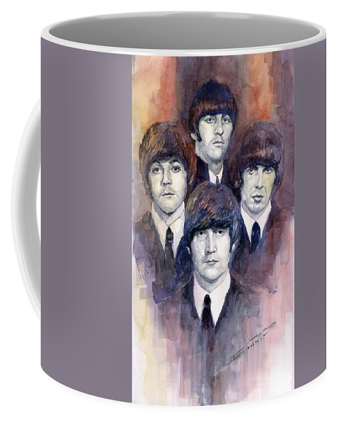 Watercolor Coffee Mug featuring the painting The Beatles 02 by Yuriy Shevchuk