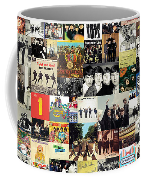 The Beatles Coffee Mug featuring the digital art The Beatles Collage by Zapista OU