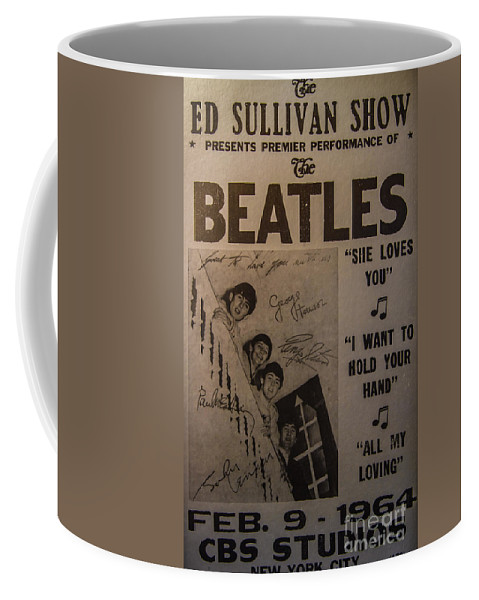 The Beatles Ed Sullivan Show Poster Coffee Mug featuring the photograph The Beatles Ed Sullivan Show Poster by Mitch Shindelbower