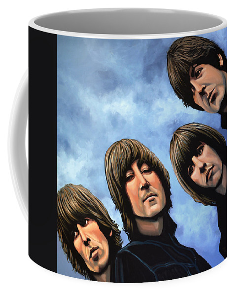 The Beatles Coffee Mug featuring the painting The Beatles Rubber Soul by Paul Meijering