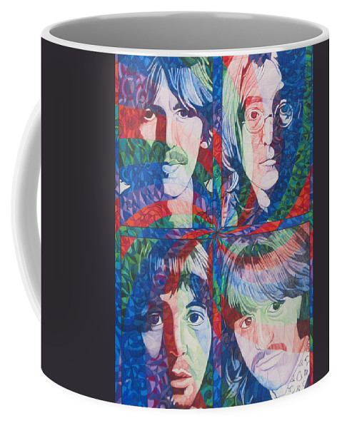 The Beatles Coffee Mug featuring the drawing The Beatles Squared by Joshua Morton