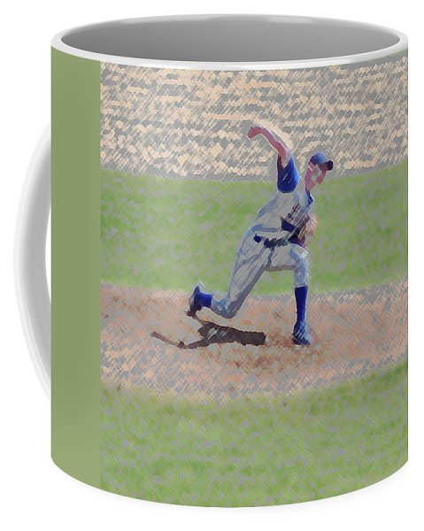Sports Coffee Mug featuring the photograph The Big Baseball Pitch Digital Art by Thomas Woolworth