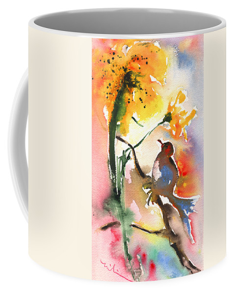 Impressionism Coffee Mug featuring the painting The Bird And The Flower 01 by Miki De Goodaboom