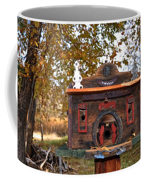 Melba; Idaho; Birdhouse; Shelter; Outdoor; Fall; Autumn; Leaves; Plant; Vegetation; Land; Landscape; Tree; Branch; House; Coffee Mug featuring the photograph The Birdhouse Kingdom - Red-naped Sapsucker by Image Takers Photography LLC - Carol Haddon