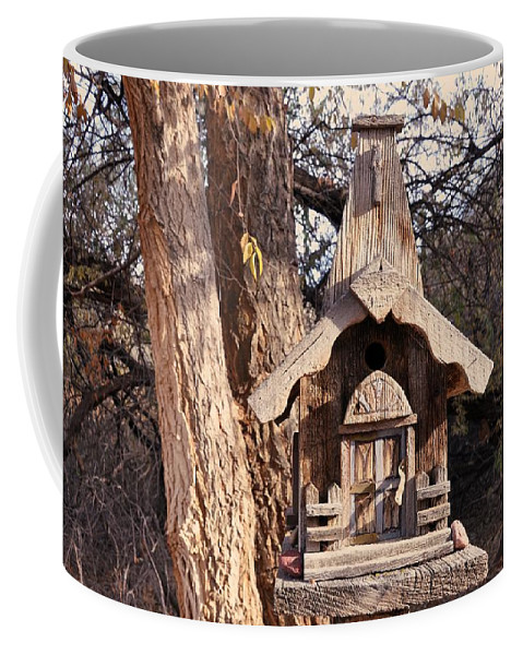 Melba; Idaho; Birdhouse; Shelter; Outdoor; Fall; Autumn; Leaves; Plant; Vegetation; Land; Landscape; Tree; Branch; House; Coffee Mug featuring the photograph The Birdhouse Kingdom - The Orange-crowned Warbler by Image Takers Photography LLC - Carol Haddon