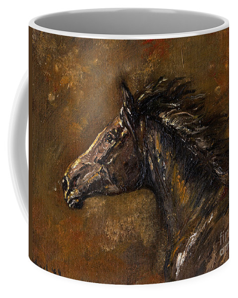 Horse Coffee Mug featuring the painting The Black Horse Oil Painting by Angel Ciesniarska