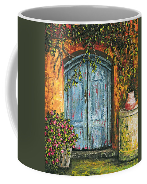 Door Coffee Mug featuring the painting The Blue Door by Darice Machel McGuire