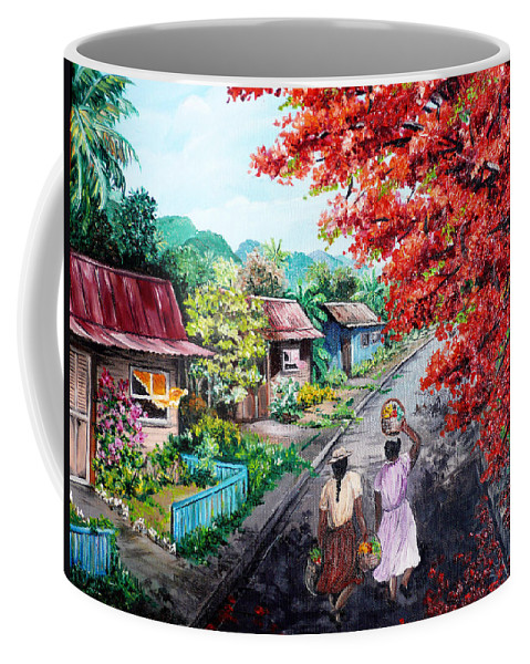 Caribbean House Painting Coffee Mug featuring the painting The Blue Fence    Sold by Karin Dawn Kelshall- Best