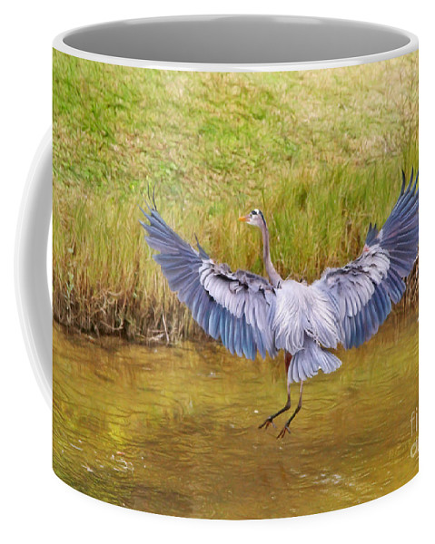 Blue Heron Coffee Mug featuring the photograph The Blue Hop by Deborah Benoit