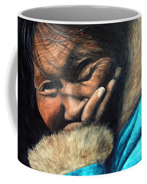 Inuit Coffee Mug featuring the painting The Blue Parka by Joey Nash
