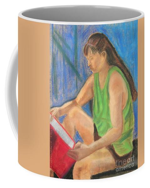 Girl Coffee Mug featuring the pastel The Book Worm by Cori Solomon