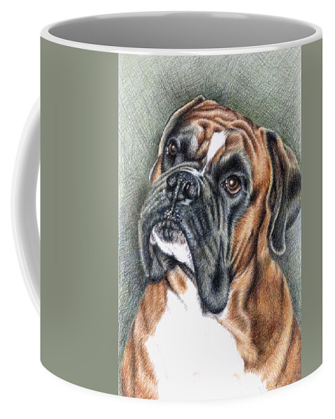 Dog Coffee Mug featuring the drawing The Boxer by Nicole Zeug