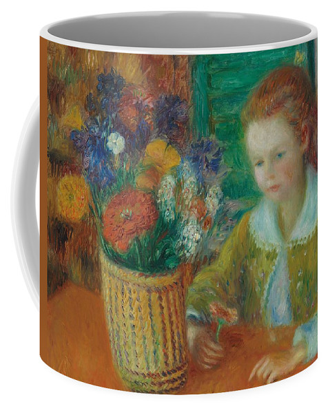 Breakfast; Porch; Impressionist; Morning; Al Fresco; Female; Young; Girl; Child; Still Life; Flowers; Basket; Bright; Colourful; Flower; Childhood; Youth; Oil Paint; Oil Painting; William; James; William James; Glackens; William James Glackens; Colorful Coffee Mug featuring the painting The Breakfast Porch by William James Glackens