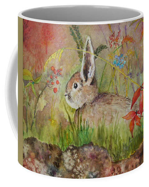Nature Coffee Mug featuring the painting The Bunny by Mary Ellen Mueller Legault