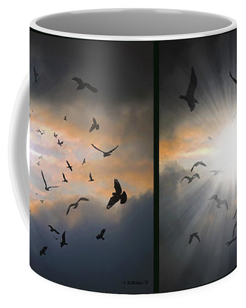3d Coffee Mug featuring the photograph The Call - The Caw - Gently Cross Your Eyes And Focus On The Middle Image by Brian Wallace