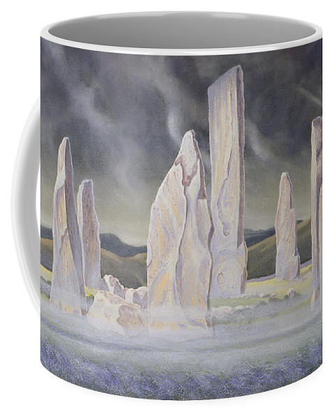 Landscape; Standing Stone; Circle; Neolithic Monument; Ancient; Outer Hebrides; Mist; Night; Moonlight; Ghostly; Celtic Coffee Mug featuring the painting The Callanish Legend Isle Of Lewis by Evangeline Dickson