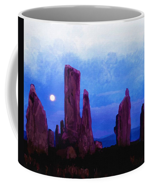 Water Coffee Mug featuring the digital art The Callanish Stones Scotland by Don Kuing