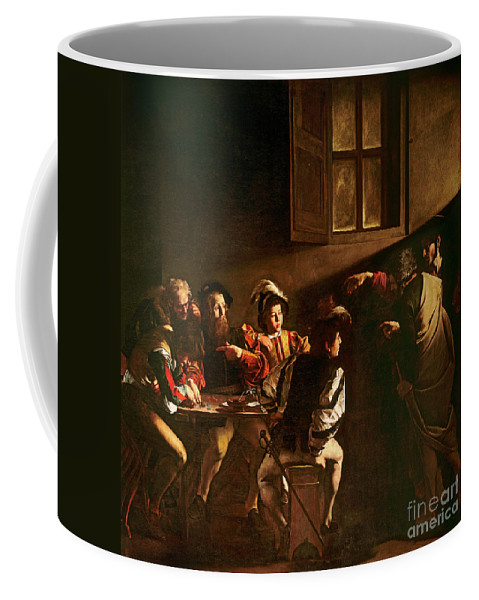 Chiaroscuro Coffee Mug featuring the painting The Calling Of St Matthew by Michelangelo Merisi o Amerighi da Caravaggio