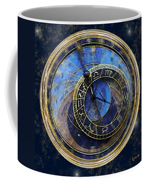 Clock Coffee Mug featuring the painting The Carousel Of Time by RC deWinter