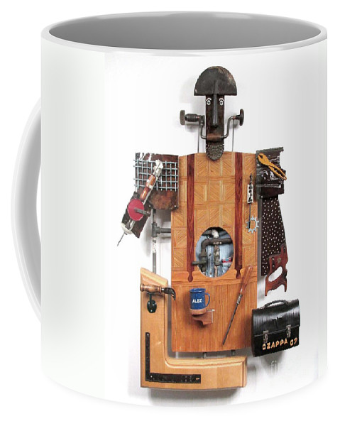 Czappa Coffee Mug featuring the sculpture The Carpenter  #16 by Bill Czappa