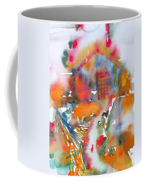 Cat Coffee Mug featuring the painting The Cat Getting Back Home by Fabrizio Cassetta