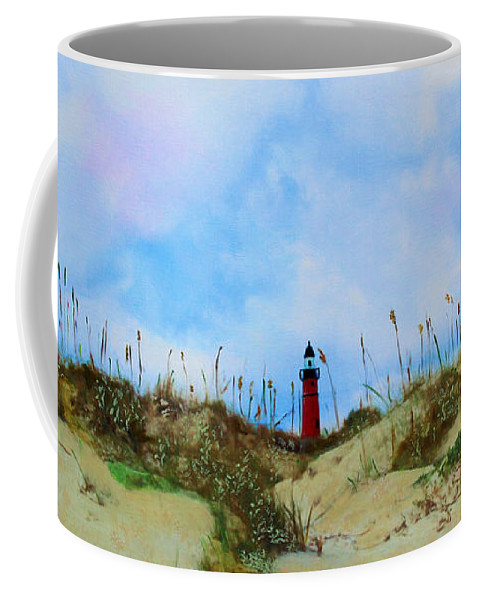 Lighthouse Coffee Mug featuring the painting The Center Of Attention by Deborah Boyd
