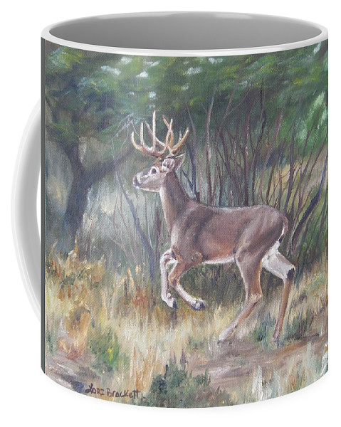 Deer Coffee Mug featuring the painting The Chase Is On by Lori Brackett