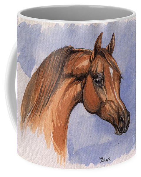Horse Coffee Mug featuring the painting The Chestnut Arabian Horse 1 by Angel Ciesniarska