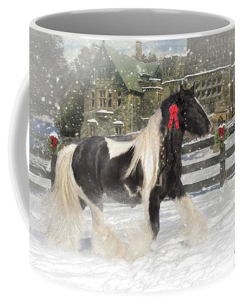 Christmas Coffee Mug featuring the mixed media The Christmas Pony by Fran J Scott