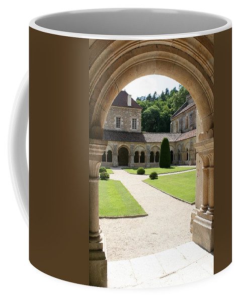 Cloister Coffee Mug featuring the photograph The Cloister Courtyard - Cloister Fontenay by Christiane Schulze Art And Photography