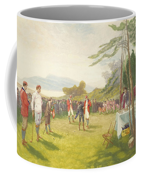 Golf Coffee Mug featuring the painting The Clubs The Thing by Henry Sandham