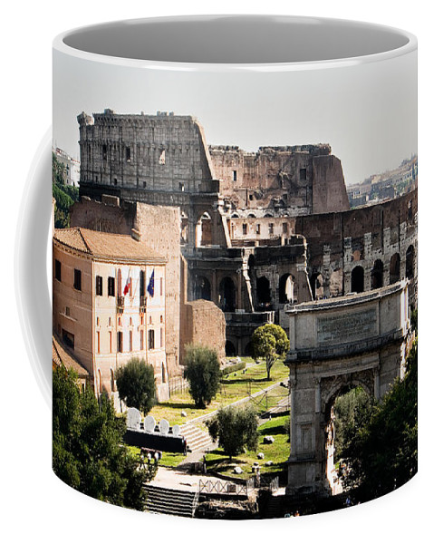 Rome Coffee Mug featuring the photograph The Colosseum Through The Forum by Weston Westmoreland