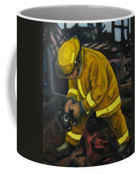 The Compulsion Towards Heroism Coffee Mug featuring the painting The Compulsion Towards Heroism by John Malone