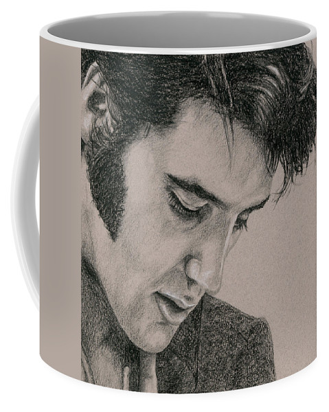 Elvis Coffee Mug featuring the drawing The Cool King by Rob De Vries