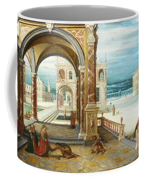 Hendrick Van Steenwijck The Younger Coffee Mug featuring the painting The Courtyard Of A Renaissance Palace by Hendrick van Steenwijck the Younger