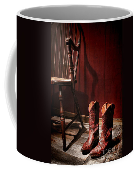 Cowgirl Boots Coffee Mug featuring the photograph The Cowgirl Boots And The Old Chair by Olivier Le Queinec