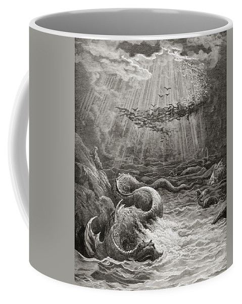 Gustave Dore Coffee Mug featuring the painting The Creation Of Fish And Birds by Gustave Dore