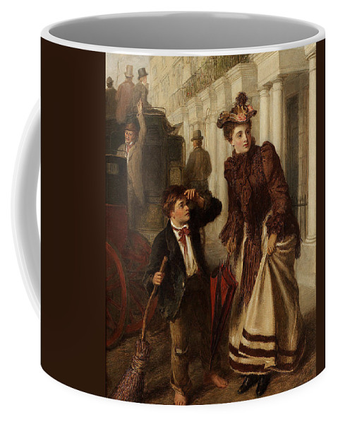 William Powell Frith Coffee Mug featuring the digital art The Crossing Sweep by William Powell Frith