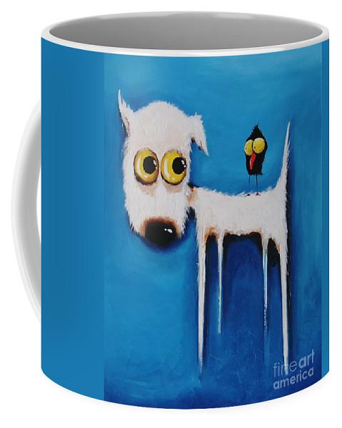 Lucia Stewart Coffee Mug featuring the painting The Crow And The Dog by Lucia Stewart