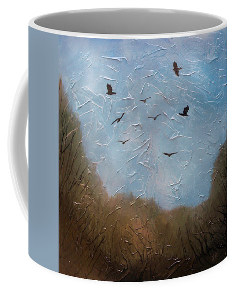 Landscape Coffee Mug featuring the painting The crows by Sergey Bezhinets